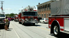 West Union firetruck in firemans parade Stock Footage