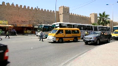 Fortified wall of medina and trafficway in Sousse, Tunisia - stock footage