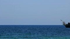 Old carvel in Mediterranean Sea - stock footage