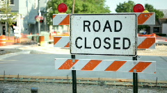Road closed sign Blocking Street Stock Footage