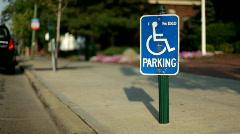 Handicap Parking sign in City Stock Footage