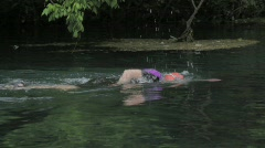 Swimming in river - stock footage