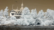 Stock Video Footage of Infrared Finland: cafeteria on a rock island 1