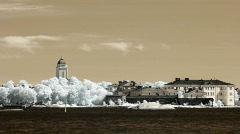 Infrared Finland: Suomenlinna fortification near Helsinki 1 Stock Footage