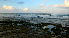 Morning sea shore. Panning left.  Stock Footage
