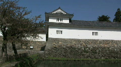 Hikone Castle Wall And Moat Stock Footage