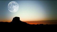 Monument Valley Utah-moonset Stock Footage