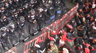 PROSTESTERS CONFRONT RIOT POLICE Demonstration Non Violent Resist Bangkok 2010 Stock Footage