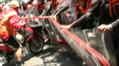 Motorcycles Protesters Demonstration Confront Battle Riot Police Bangkok 2010 - stock footage