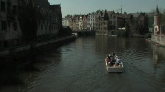 Ghent tourists boattrip - stock footage