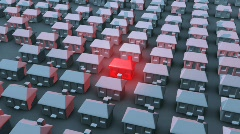 Single House Glow Red Stock Footage