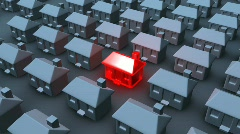 Single House Red Stock Footage