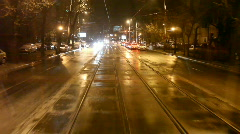 Street Car Rear Window Night View Stock Footage