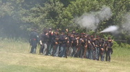 Stock Video Footage of Civil War, Union Soldier Line, Fire at Will