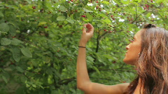 Woman picking berries Stock Footage