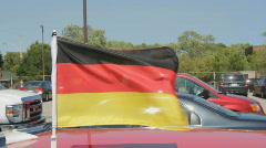 German FIFA flag on car. 2 shots. Stock Footage
