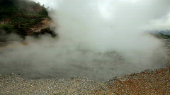 Boiling mud in the volcano crater Stock Footage