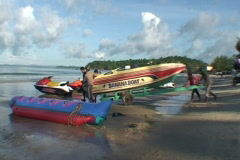 CAMBODIA-BEACH-BOAT LAUNCH 2 Stock Footage