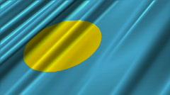 Palau Flag Loop 02 Stock Footage