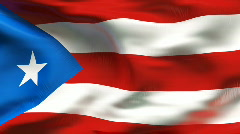 Textured PUERTO RICO cotton flag with wrinkles and seams - stock footage