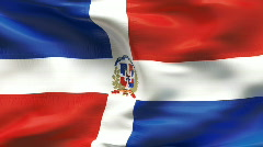 Textured DOMINICAN REPUBLIC cotton flag with wrinkles and seams Stock Footage