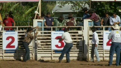 Rodeo Cowboys - Bull Riding in Slow Motion - Clip 4 of 12 Stock Footage