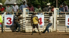 Rodeo Cowboys - Bull Riding in Slow Motion - Clip 3 of 12 Stock Footage