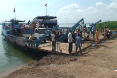 CAMBODIA-FERRY-TRUCK 1 Stock Footage