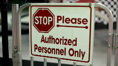 Authorized Personnel Only sign at Go Kart Track Stock Footage