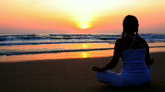 Meditation at sunrise time Stock Footage