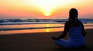 Meditation at sunrise time Stock Footage