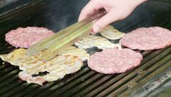 Chef roasting meat on the grill Stock Footage
