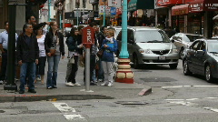 Chinatown Tourists on Street Corner and Cable Car Stock Footage