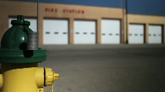 Fire station and hydrant with focus change Stock Footage