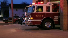 Fire engine leaving the station - stock footage