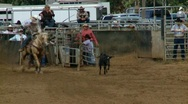 Stock Video Footage of Rodeo Cowboys - Calf Roping in Slow Motion - Clip 4 of 7