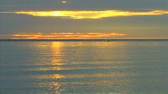 Sunset Golden Water Reflection Ocean Northsea  HD Stock Footage