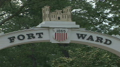 Fort Ward sign (Cival War)  Stock Footage