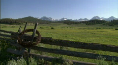 Fence Frames Sawtooth Mountain Range 07 Stock Footage