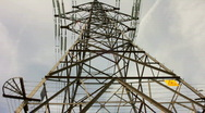 Stock Video Footage of Overhead electricity supply power line pylon tower