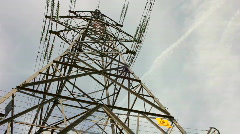 Overhead electricity supply power line pylon tower - stock footage