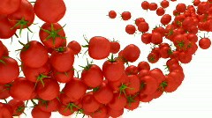 Tomatoes Cherry flow with slow motion over white Stock Footage