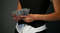 Portrait of beautiful business woman is counting money Stock Footage