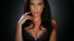 Stock Video Footage of Sexy brunette wearing black lingerie