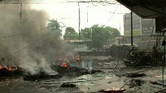 Streets on Fire Urban Riot Conflict War Terrorist Attack Bomb Blast Burning  Stock Footage