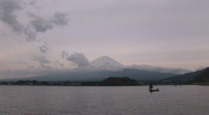 Mount Fuji And Kawaguchi Lake. Fisher In The Boat. Japan. Stock Footage