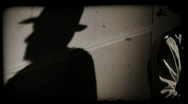 Film noir pan right reporter old film Stock Footage