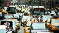 Taxis and people Stock Footage