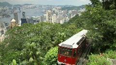 Stock Video Footage of Venerable Peak Tram in Hong Kong
