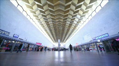 Stalls at Leningradsky rail terminal in Moscow, back view Stock Footage